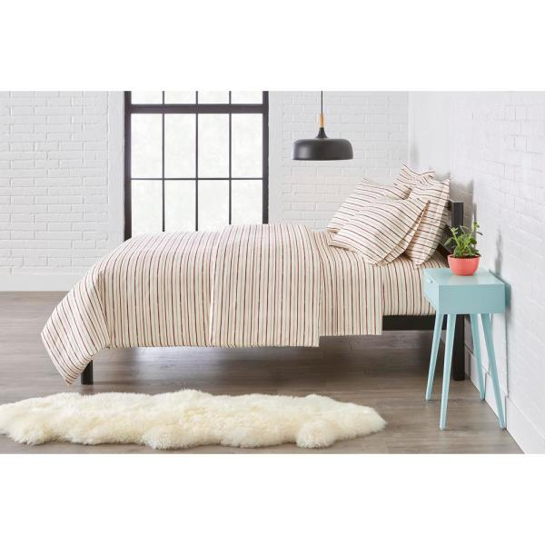 StyleWell Brushed Microfiber 2-Piece Twin Duvet Cover Set in Watercolor Stripe