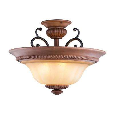 Elysia Collection 3-Light Antiqued Gold Semi-Flush Mount Light with Elegant Iridescent Amber Glass Shade