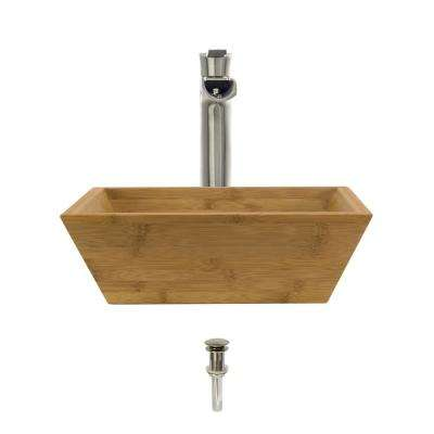 Vessel Sink in Bamboo with 731 Faucet and Pop-Up Drain in Brushed Nickel