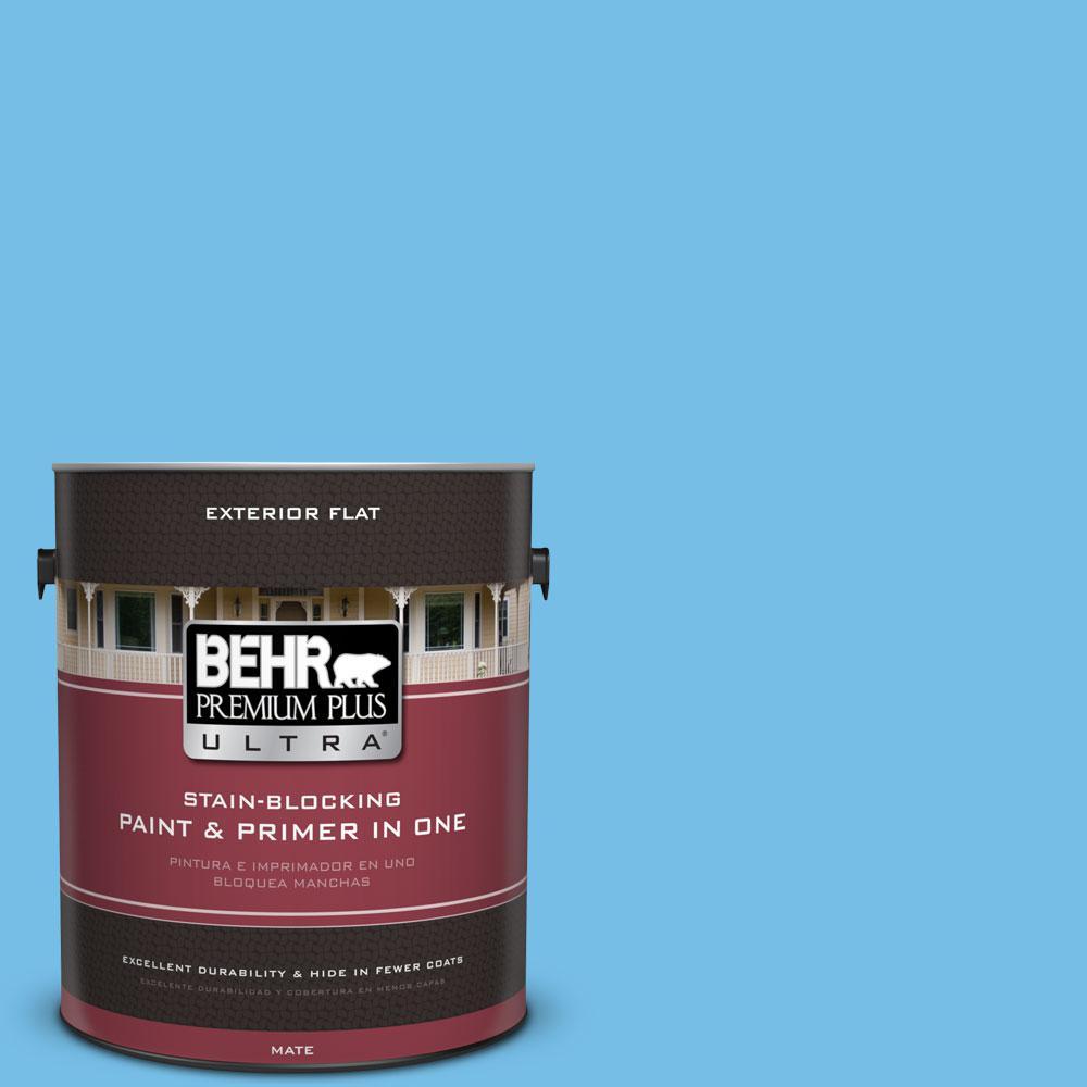 BEHR Premium Plus Ultra 1-gal. #550B-4 Costa Rica Blue Flat Exterior Paint