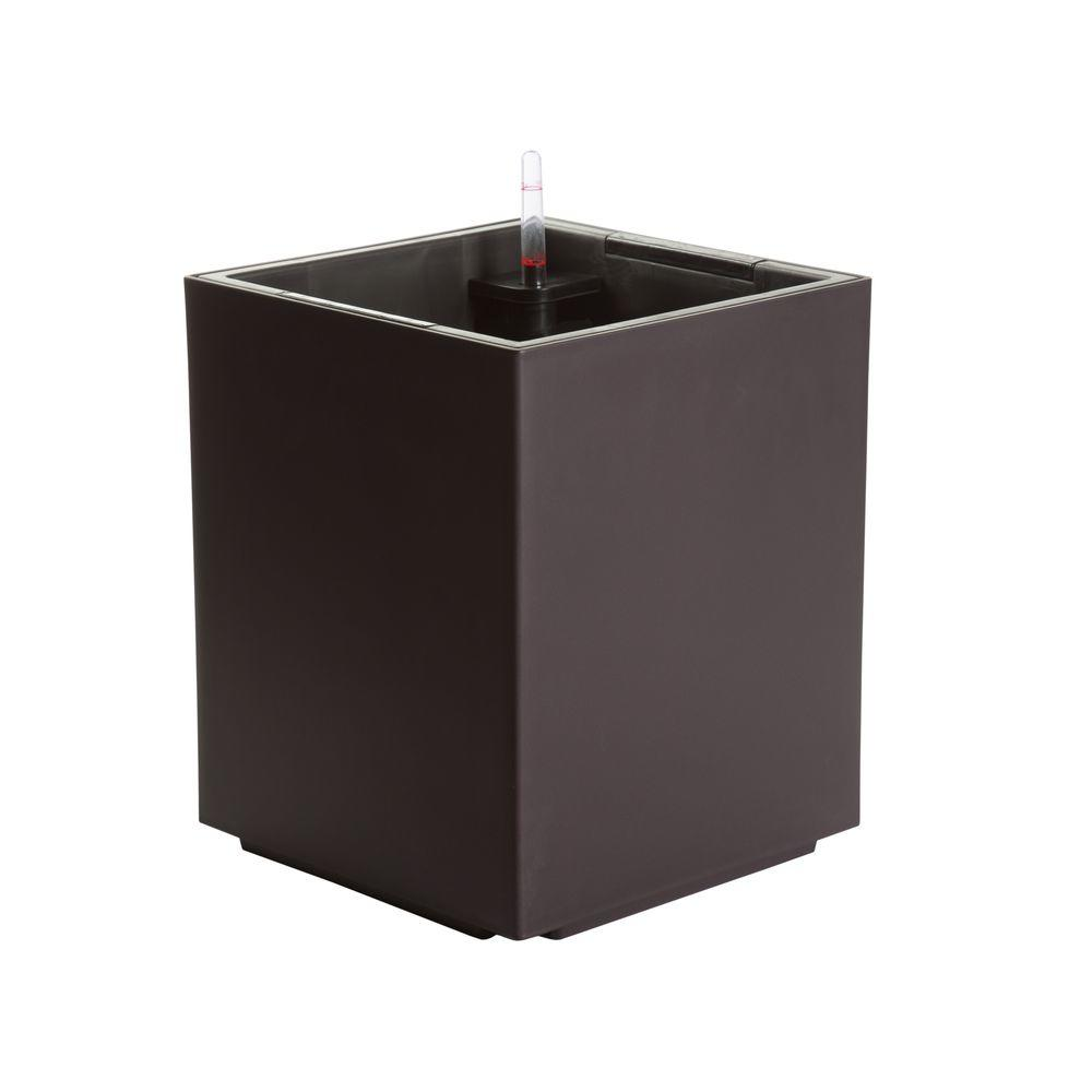 Modena 12 in. Cube Matte Mocha Plastic Self Watering Planter