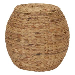 Large Round Wicker Basket Side Table