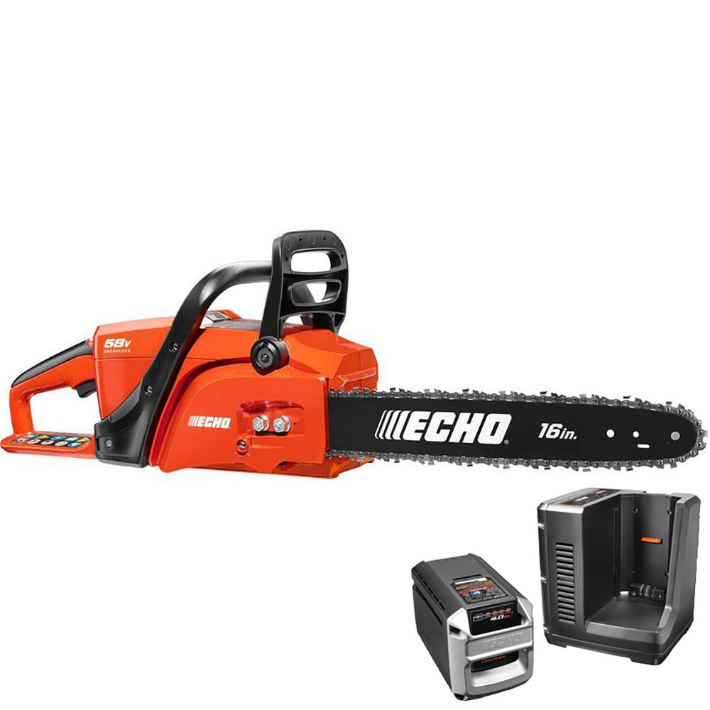 Echo 16 in 58 volt brushless lithium ion cordless chainsaw 40 ah echo 16 in 58 volt brushless lithium ion cordless chainsaw 40 ah battery greentooth Gallery