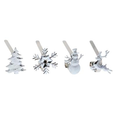 Silver MantleClip Stocking Holder with Assorted Holiday Icons (4-Pack)