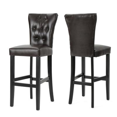 Pia 45.5 in. Brown Upholstered Bar Stool (Set of 2)