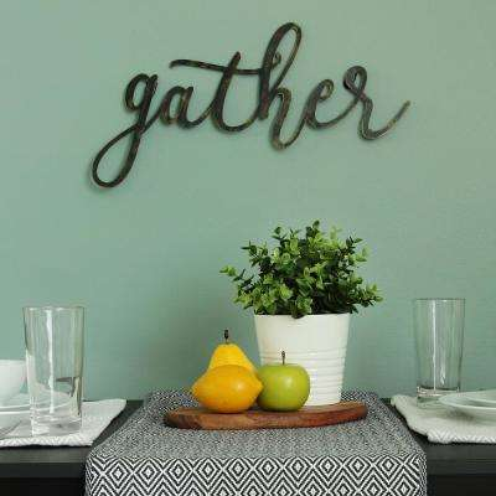 "Black ""gather"" Script Decorative Sign Wall Decor"
