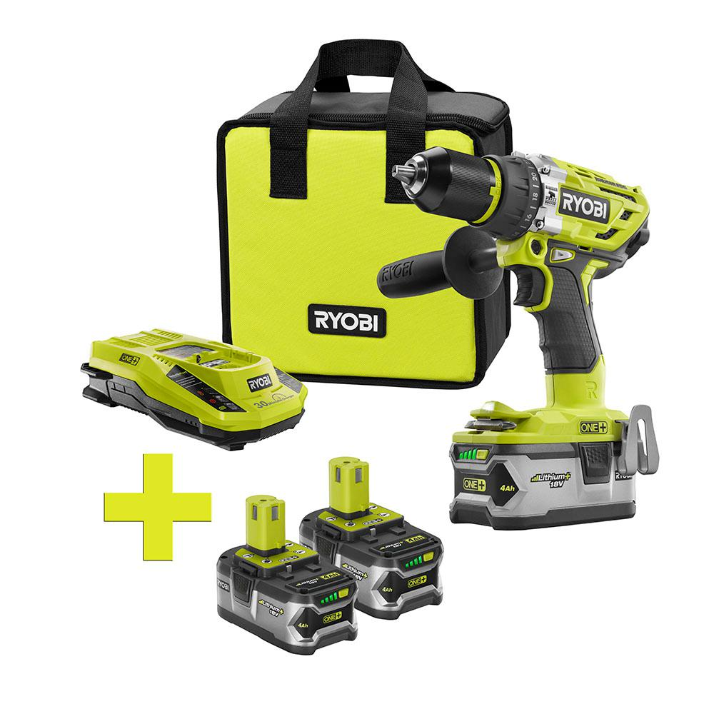 ryobi 18 volt one lithium ion cordless brushless hammer drill driver 4ah batt and charger w. Black Bedroom Furniture Sets. Home Design Ideas