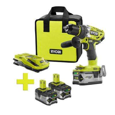 18-Volt ONE+ Lithium-Ion Cordless Brushless Hammer Drill/Driver, 4Ah Batt and Charger w/Bonus (2) 4Ah Batteries