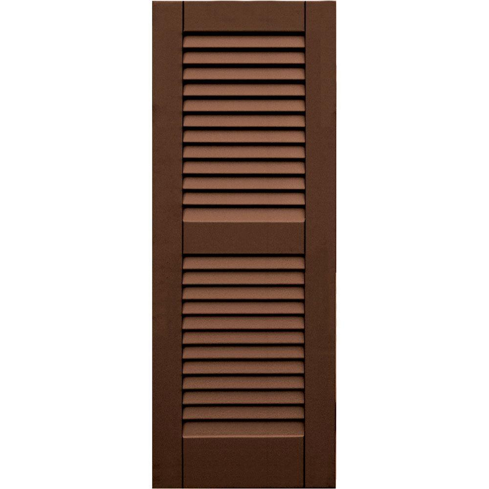 Winworks Wood Composite 15 in. x 40 in. Louvered Shutters Pair #635 Federal Brown