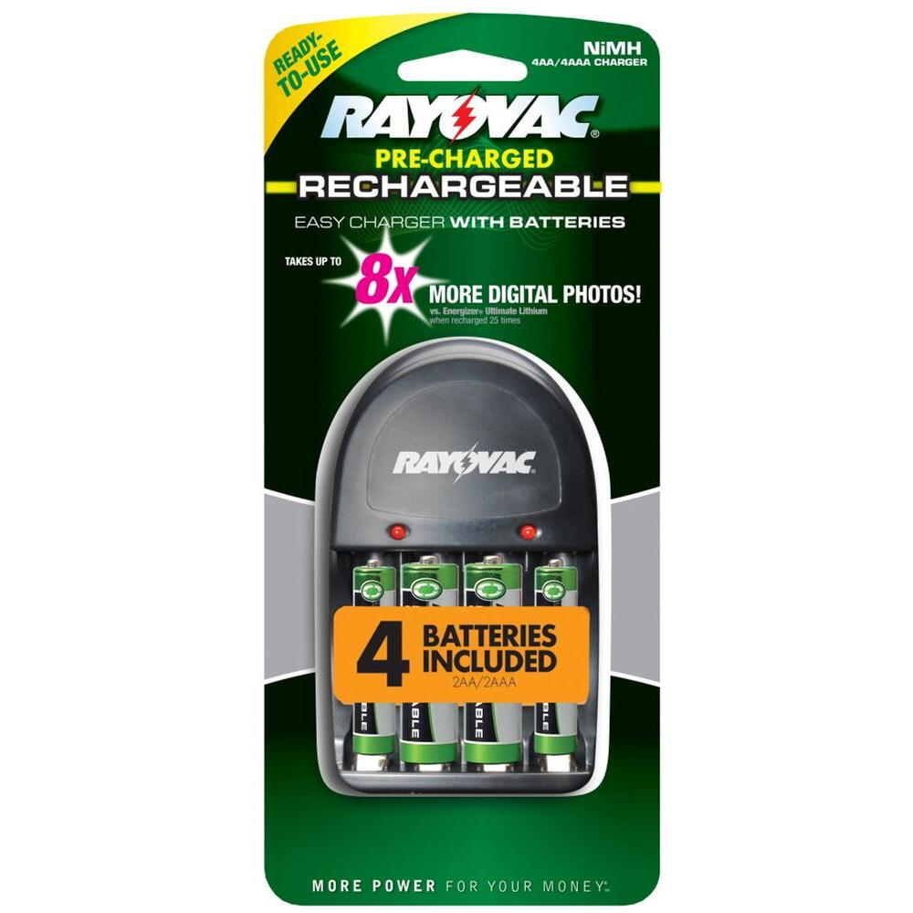 Rayovac NiMH AA/AAA Easy Charger with 2 AA and 2 AAA Battery Included