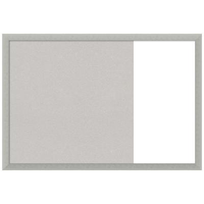 Silver Leaf 29 in. x 20 in. Grey Cork and White Dry Erase Wood Combo Memo Board