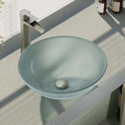 Glass Vessel Sink in Sparkling Silver with R9-7007 Faucet and Pop-Up Drain in Bushed Nickel