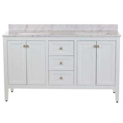 Darcy 61 in. W x 22 in. D Bath Vanity in White with Stone Effects Vanity Top in Lunar with White Sinks
