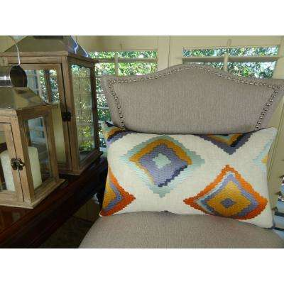 Native Trail Cayenne 20 in. x 36 in. King Purple, Orange and White Hypoallergenic Down Alternative Throw Pillow