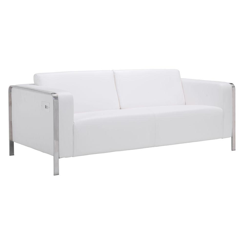 Elegant ZUO Thor White Faux Leather Sofa