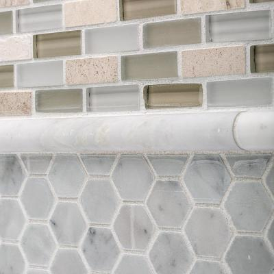 Carrara White .75 in. x 12 in. Honed Marble Wall Pencil Tile (1 Linear Foot)