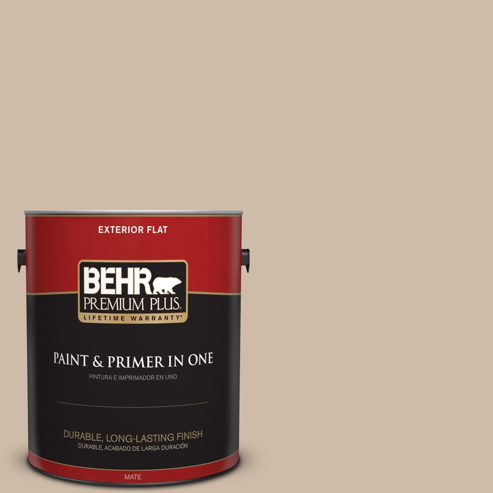 BEHR Premium Plus 1-gal. #PWL-83 Distant Tan Flat Exterior Paint
