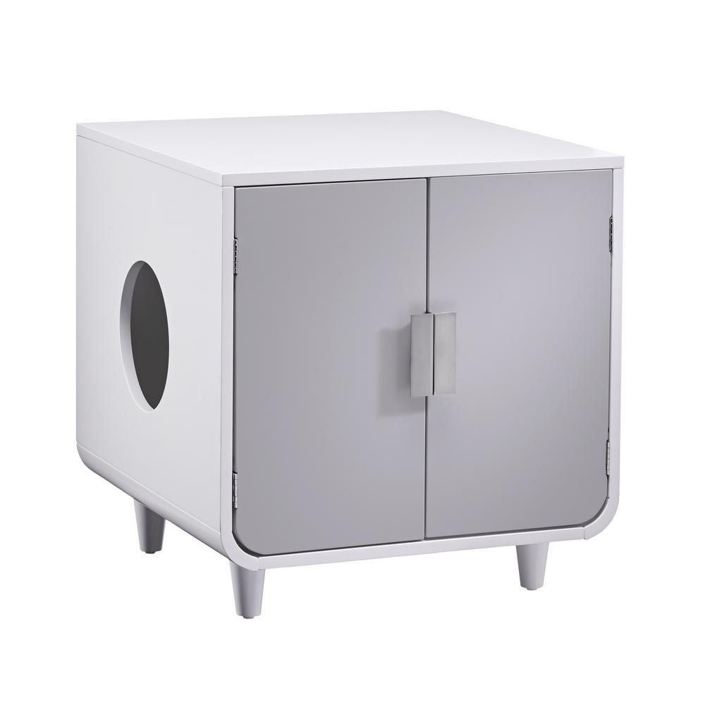 Dyad Alpine White Wooden Cat Litter Box