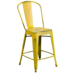 distressed yellow bar stool