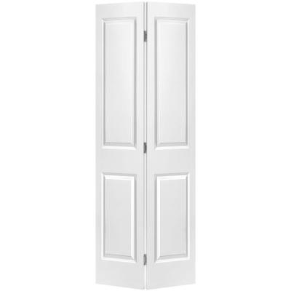 30 in. x 80 in. 2-Panel Square Top Primed White Hollow-Core Composite Bi-fold Interior Door