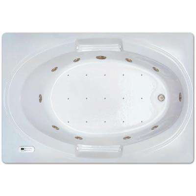 5 ft. Rectangle Left Drain Drop-in Rectangular Whirlpool and Air Bath Tub in White with Tranquility Package