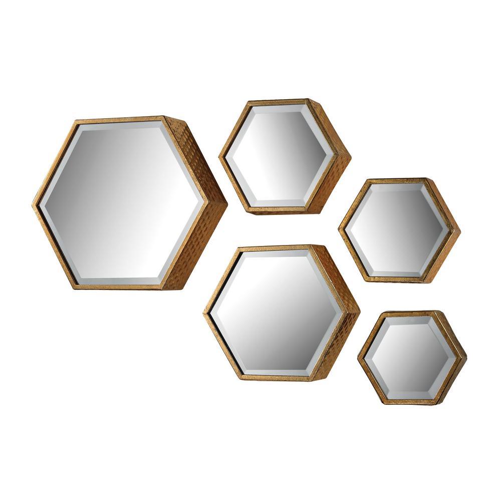 5 Piece Hexagonal Metal In Gold Framed Mirror Set