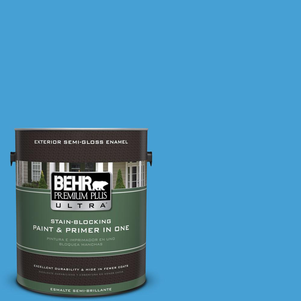 BEHR Premium Plus Ultra 1-gal. #P500-5 Peaceful River Semi-Gloss Enamel Exterior Paint