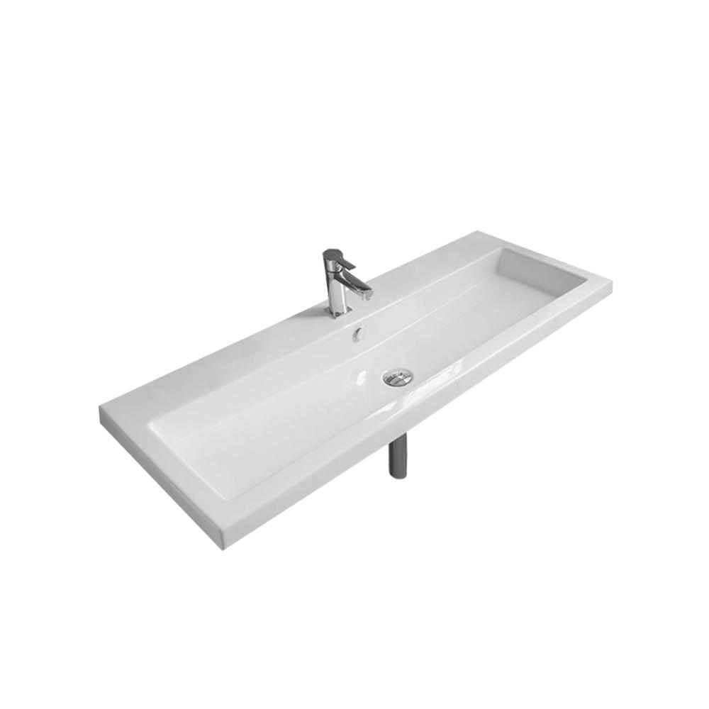 Cangas Wall Mounted Ceramic Bathroom Sink in White