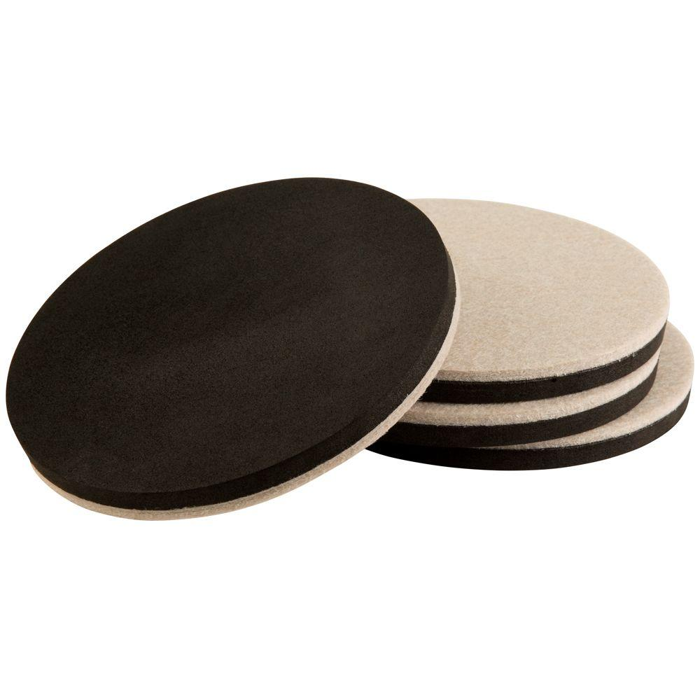 5 in. Oatmeal Round Thin Felt Reusable Slider (4-Pack)