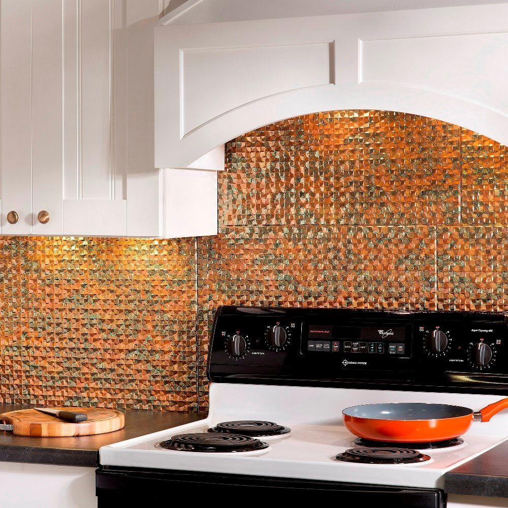 Orange Kitchen Backsplash Tile: Fasade 24 In. X 18 In. Terrain PVC Decorative Tile