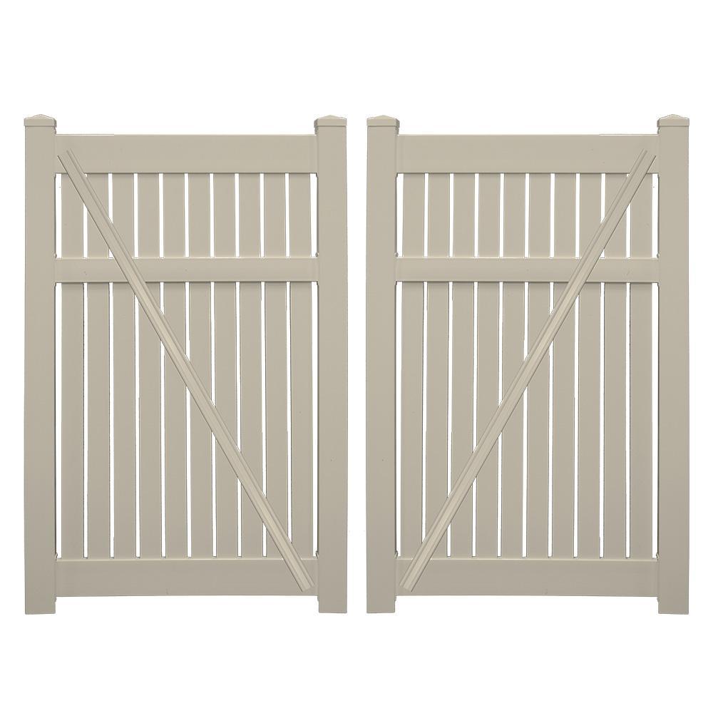Huntington 7.6 ft. x 5 ft. Khaki Vinyl Semi-Privacy Fence Gate