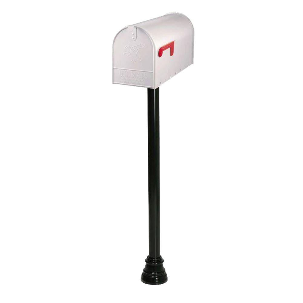 Gibraltar Mailboxes Everett Large White Elite Steel Mailbox and Decorative Black Round Aluminum Top-Mount Post Combo in Black