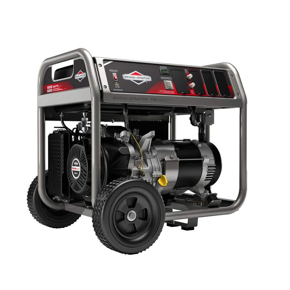 Briggs & Stratton 5,000-Watt Gasoline Powered Manual Start Portable ...
