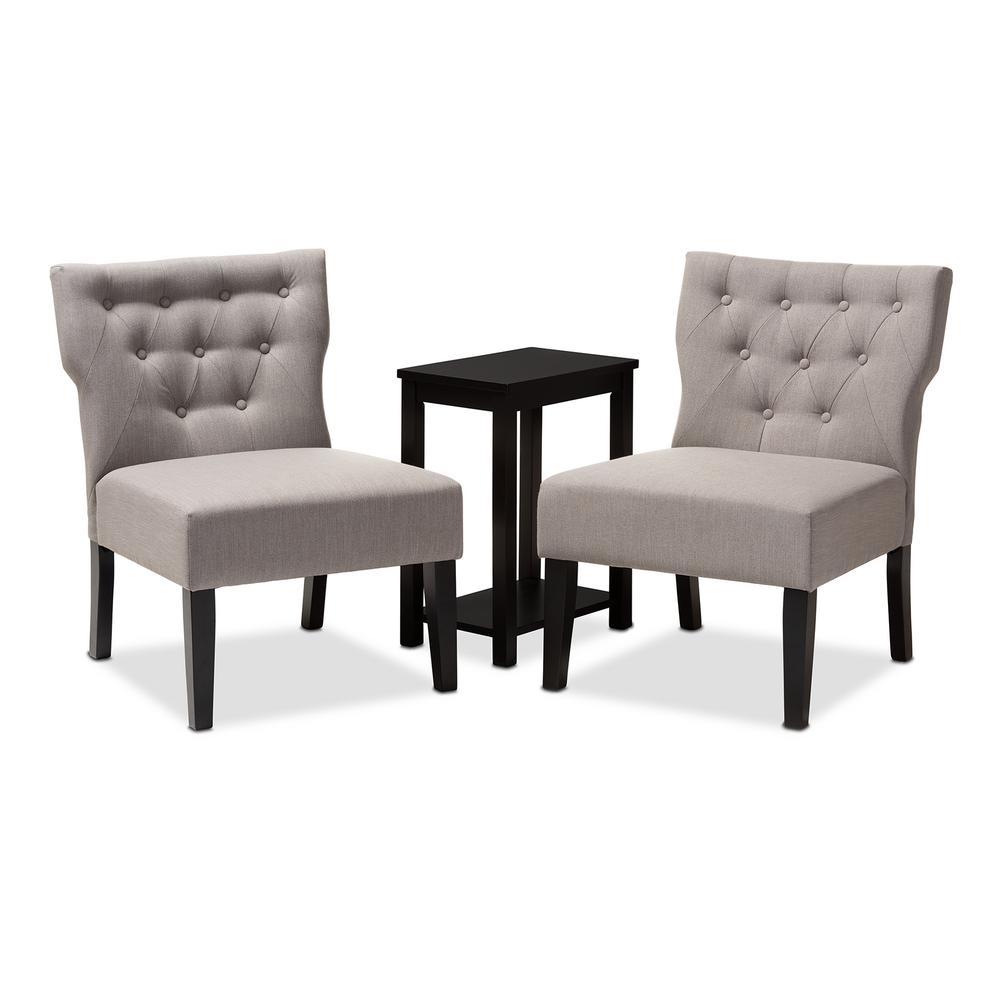 Pleasant Baxton Studio Lerato Black And Gray Fabric Accent Chair And Machost Co Dining Chair Design Ideas Machostcouk