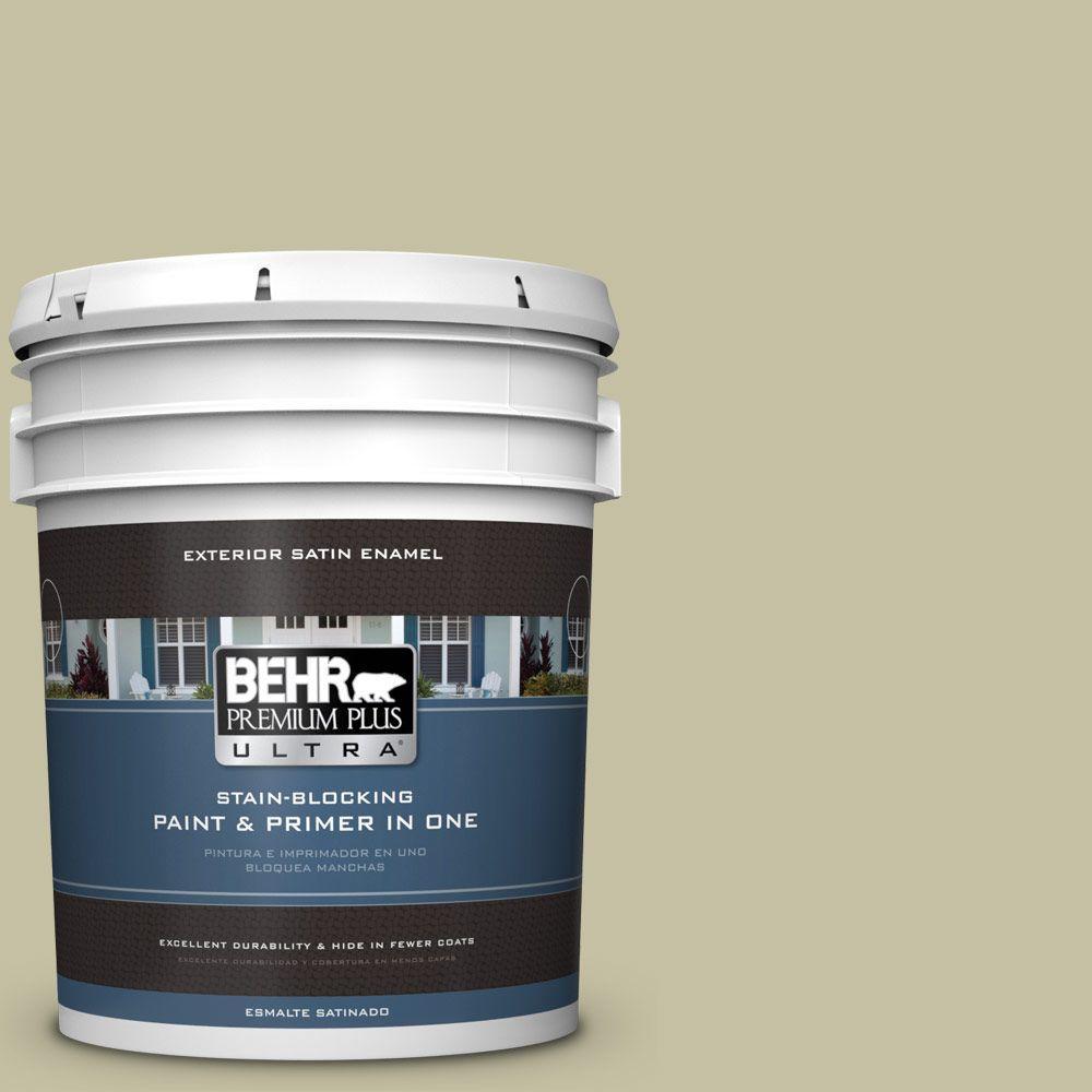 BEHR Premium Plus Ultra 5-gal. #S350-3 Washed Olive Satin Enamel Exterior Paint