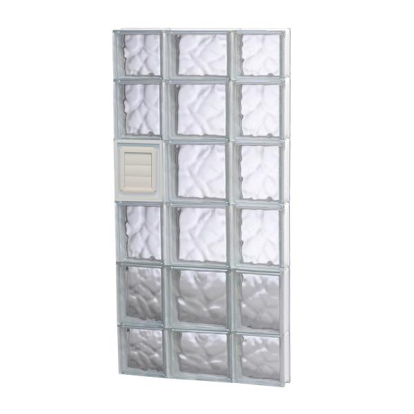 19.25 in. x 42.5 in. x 3.125 in. Frameless Wave Pattern Glass Block Window with Dryer Vent