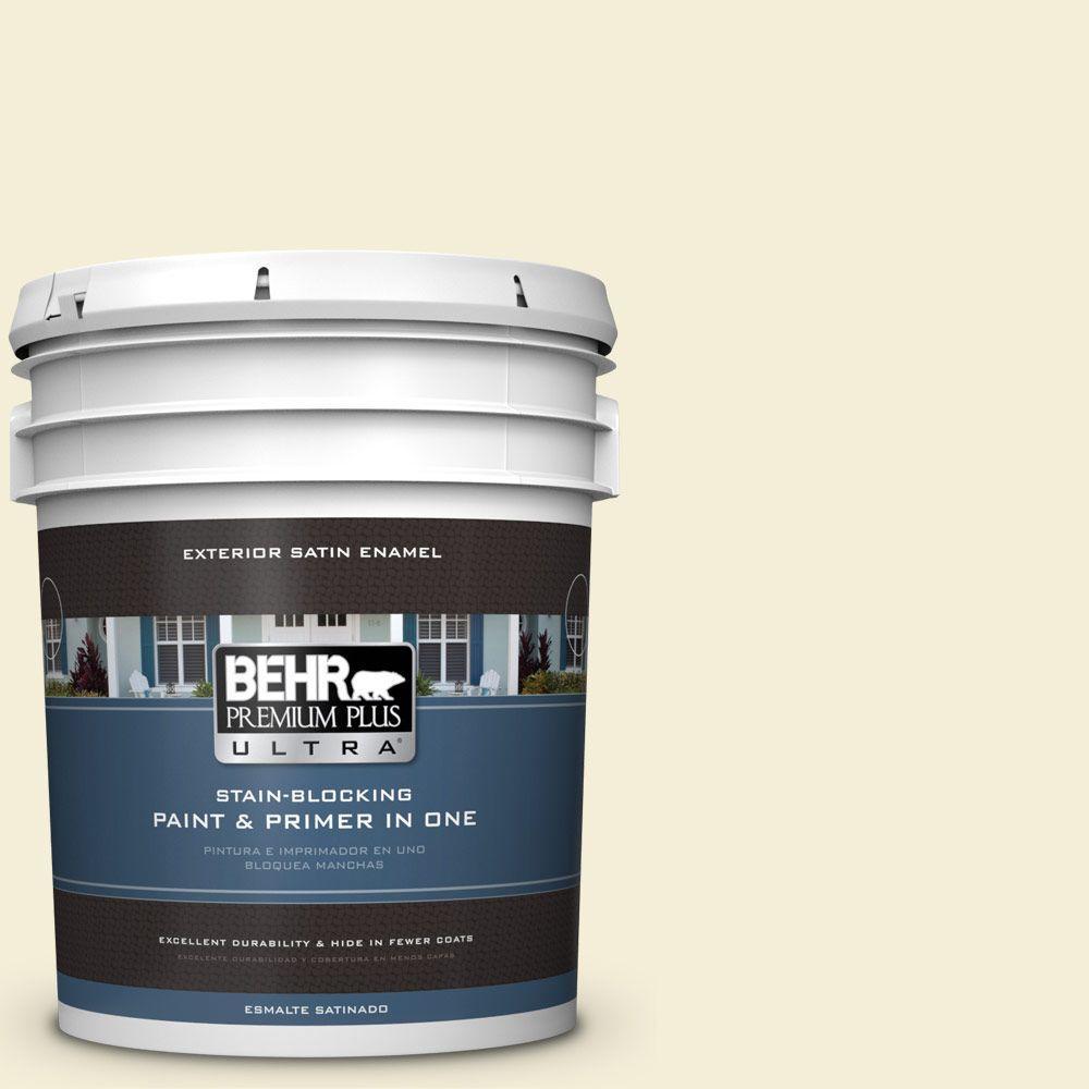 BEHR Premium Plus Ultra 5-gal. #W-D-420 Beach White Satin Enamel Exterior Paint
