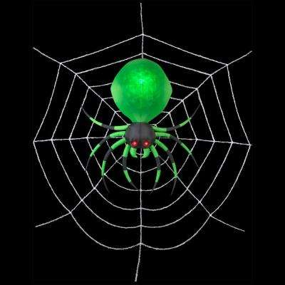 72 in. W x 72 in. D x 21.26 in. H Inflatable Green Spider with Web