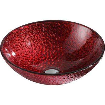 Rhythm Series Deco-Glass Vessel Sink in Lustrous Red
