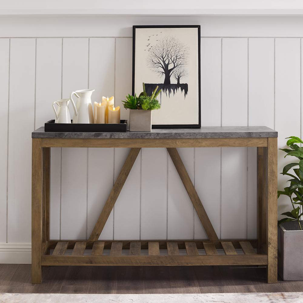 Walker Edison Furniture Company 52 In Faux Dark Concrete Top Rustic Oak Entry Console Table