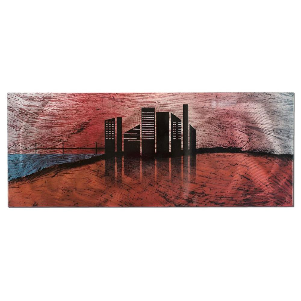 Filament Design Brevium 19 in. x 48 in. City Silhouette Metal Wall Art