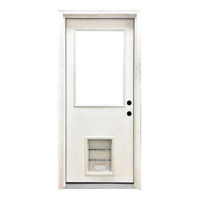 32 in. x 80 in. Classic Clear Half Lite LHIS White Primed Fiberglass Prehung Front Door with XL Pet Door