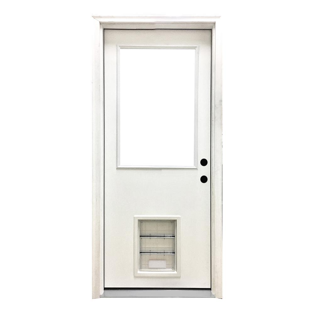 32 in. x 80 in. Classic Half Lite LHIS White Primed Textured Fiberglass Prehung Front Door with XL Pet Door