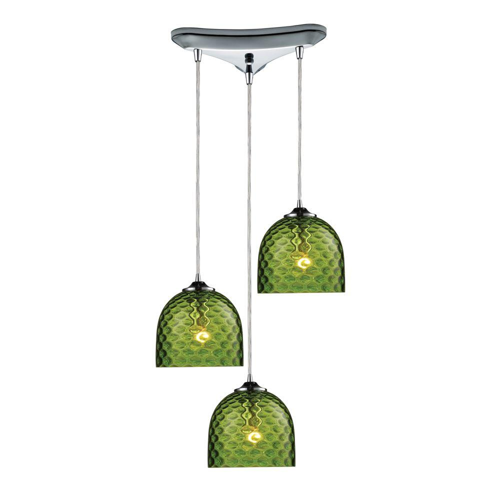 Titan Lighting Viva 3-Light Satin Nickel Ceiling Pendant