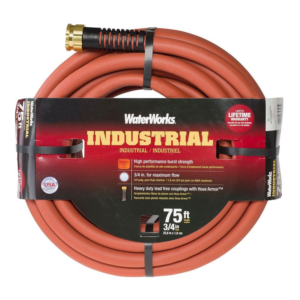 WATERWORKS 3/4 in. Dia x 75 ft. Industrial Garden Hose