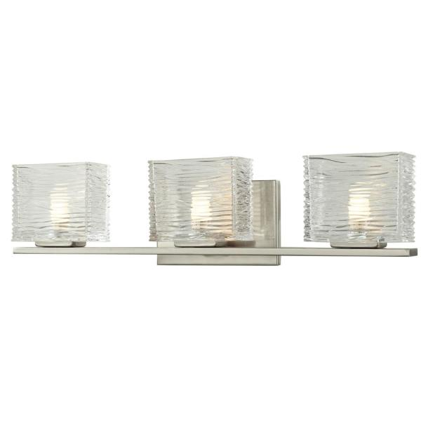 Jael 3-Light Brushed Nickel Bath Light with Clear Glass Shade