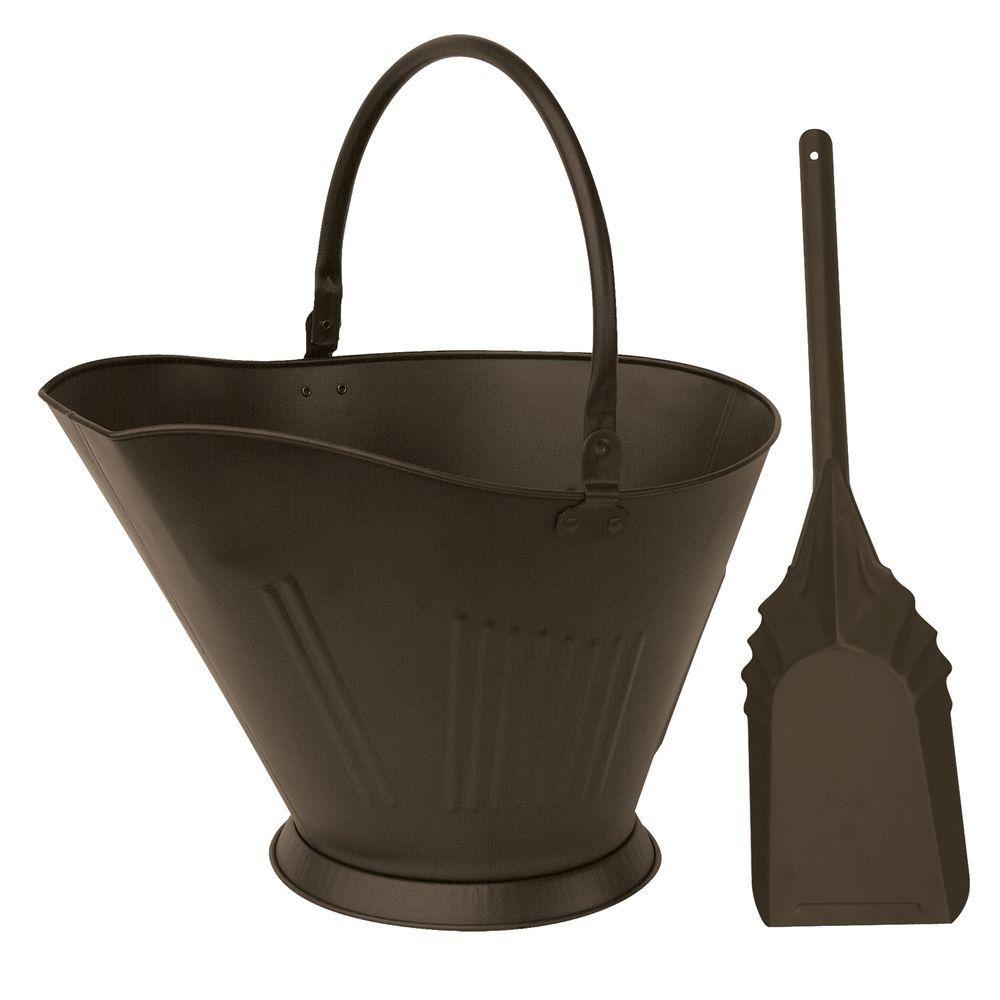 Bronze Finish Large Capacity Coal Hod and Shovel