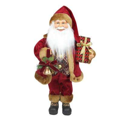 18.5 in. Santa Claus with Bell and Gift Christmas Tabletop Decoration