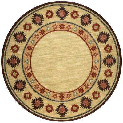 Ryder Tan/Burgundy 8 ft. x 8 ft. Round Native American/Tribal Area Rug
