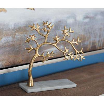 11 in. Tree Decorative Sculpture in White and Gold